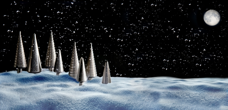Reisser drill bits used to create a festive scene. Photography by Sara Porter